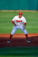 Jose Rojas (2) of the Orem Owlz on defense against the Grand Junction Rockies in Pioneer League action at Home of the Owlz on July 7, 2016 in Orem, Utah. The Owlz defeated the Rockies 15-3. (Stephen Smith/Four Seam Images)