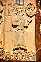 Bas Releif sculptures with scenes from the Bible on the outside of the 10th century Armenian Orthodox Cathedral of the Holy Cross on Akdamar Island, Lake Van Turkey 17