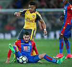 Crystal Palace's Joel Ward tussles with Arsenal's Alexis Sanchez during the Premier League match at Selhurst Park Stadium, London. Picture date: April 10th, 2017. Pic credit should read: David Klein/Sportimage