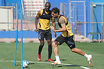 Getafe's Allan Nyom (l) and Xavier Etxeita during training session. May 25,2020.(ALTERPHOTOS/Acero)