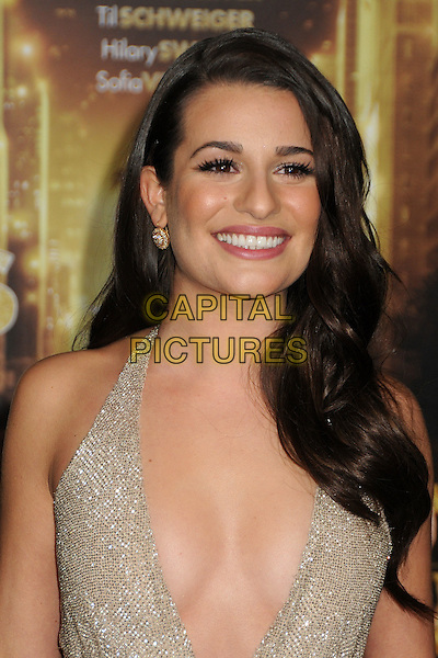Lea Michele.'New Year's Eve' Los Angeles premiere at  Grauman's Chinese Theatre, Hollywood, California, USA..5th December 2011.headshot portrait smiling beige gold sparkly halterneck plunging neckline cleavage  .CAP/ADM/BP.©Byron Purvis/AdMedia/Capital Pictures.
