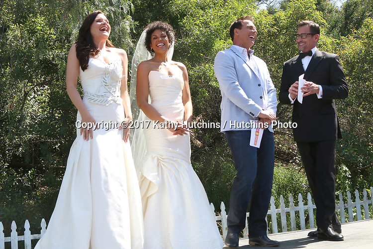 """LOS ANGELES - APR 14:  Heather Tom, Karla Mosley, Mark Steines, Lawrence Zarian at the """"Home and Family"""" Celebrates """"Bold and Beautiful's"""" 30 Years at Universal Studios Back Lot on April 14, 2017 in Los Angeles, CA"""