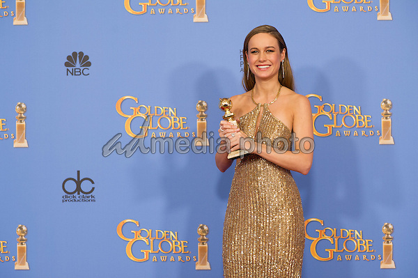 "After winning the category of BEST PERFORMANCE BY AN ACTRESS IN A MOTION PICTURE – DRAMA for her role in ""Room,"" actress Brie Larson poses backstage in the press room with her Golden Globe Award at the 73rd Annual Golden Globe Awards at the Beverly Hilton in Beverly Hills, CA on Sunday, January 10, 2016. Photo Credit: HFPA/AdMedia"