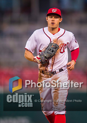 28 April 2016: Washington Nationals outfielder Matt den Dekker returns to the dugout during a game against the Philadelphia Phillies at Nationals Park in Washington, DC. The Phillies shut out the Nationals 3-0 to sweep their mid-week, 3-game series. Mandatory Credit: Ed Wolfstein Photo *** RAW (NEF) Image File Available ***