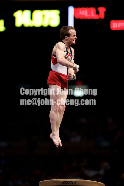 3/1/08 - Photo by John Cheng -  Paul Hamm of the United States performs on vault at the Tyson American Cup in Madison Square GardenPhoto by John Cheng - Tyson American Cup 2008 in Madison Square Garden, New York.Paul Hamm