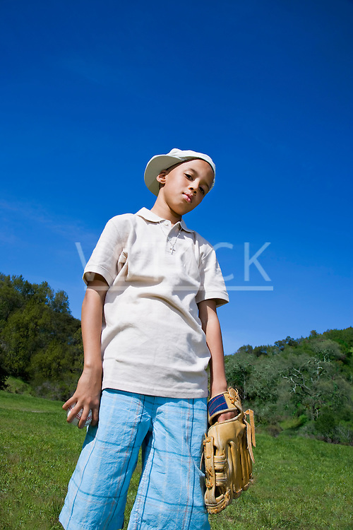USA California, Fairfax, portrait of boy (8-9) with baseball glove