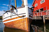Norway, Inderøy. Kjerknesvågen harbour. The old sail ship Pauline.