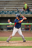 Potomac Nationals right fielder Rhett Wiseman (9) at bat during the first game of a doubleheader against the Lynchburg Hillcats on June 9, 2018 at Calvin Falwell Field in Lynchburg, Virginia.  Lynchburg defeated Potomac 5-3.  (Mike Janes/Four Seam Images)