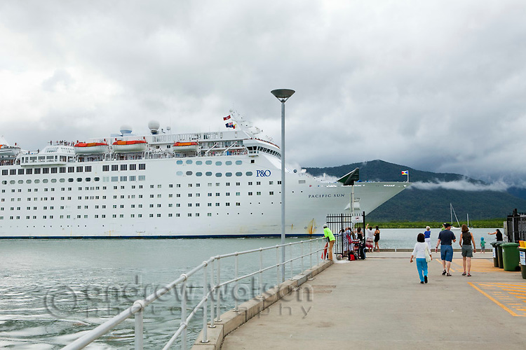 Cruise liner entering Trinity Inlet.  Cairns, Queensland, Australia