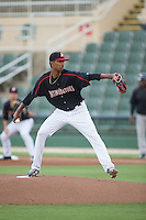 Kannapolis Intimidators starting pitcher Luis Martinez (43) in action against the Delmarva Shorebirds at CMC-Northeast Stadium on June 4, 2015 in Kannapolis, North Carolina.  The Shorebirds defeated the Intimidators 8-2.  (Brian Westerholt/Four Seam Images)