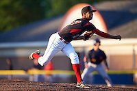 Batavia Muckdogs relief pitcher Aneury Osoria (37) delivers a pitch during a game against the State College Spikes on June 23, 2016 at Dwyer Stadium in Batavia, New York.  State College defeated Batavia 8-4.  (Mike Janes/Four Seam Images)