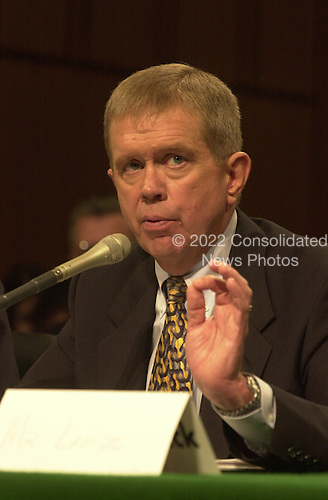 John Lampe, Executive Vice President for Sales in the After Market, Bridgestone/Firestone, Inc. testifies before the U.S. Senate Commerce Committee on the Bridgestone/Firestone recall in Washington, D.C. on September 12, 2000..Credit: Ron Sachs / CNP