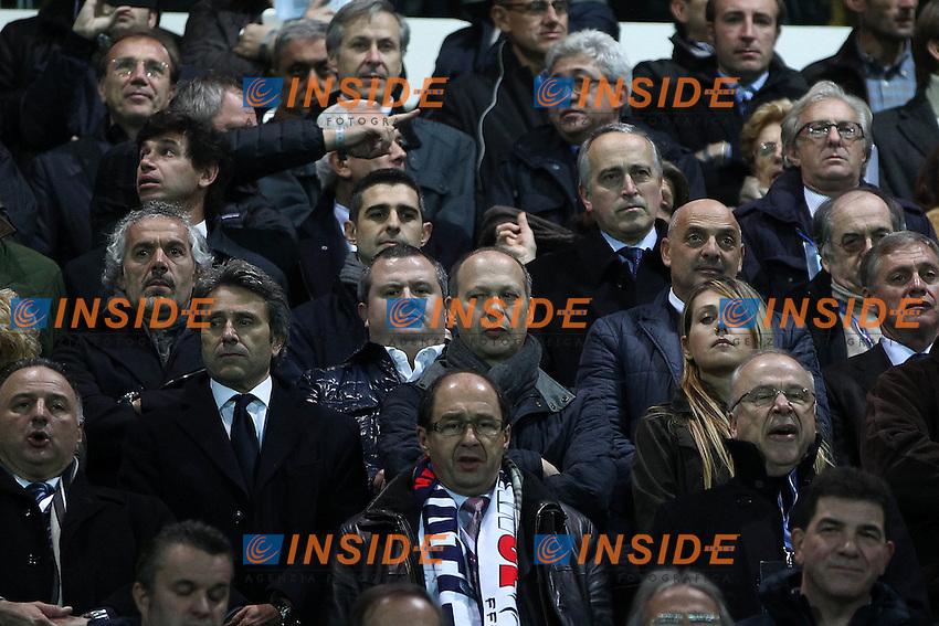 """Giancarlo Abete Roberto Donadoni Tommaso Ghirardi in tribuna.Parma 14/11/2012 Stadio """"Tardini"""".Football Calcio Amichevole Nazionale A 2012/13.Italia v Francia.Foto Insidefoto Paolo Nucci."""