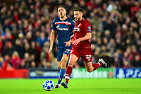 Liverpool's Adam Lallana competes with Crvena Zvezda's Dusan Jovancic<br /> <br /> Photographer Richard Martin-Roberts/CameraSport<br /> <br /> UEFA Champions League Group C - Liverpool v Crvena Zvezda - Wednesday 24th October 2018 - Anfield - Liverpool<br />  <br /> World Copyright © 2018 CameraSport. All rights reserved. 43 Linden Ave. Countesthorpe. Leicester. England. LE8 5PG - Tel: +44 (0) 116 277 4147 - admin@camerasport.com - www.camerasport.com