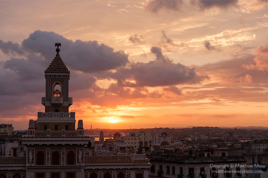 Havana, Cuba; sunrise behind the Bacardi Building, the former headquarters of the Bacardi Rum empire