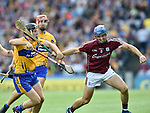 Jack Browne of Clare in action against Johnny Coen of Galway during their All-Ireland semi-final at Croke Park. Photograph by John Kelly.
