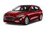 2019 Ford Focus Titanium Business 5 Door Hatchback angular front stock photos of front three quarter view