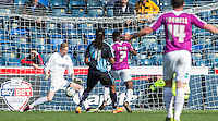 Andy Yiadom of Barnet scores the equaliser past Goalkeeper Ryan Allsop (Loanee from Bournemouth) of Wycombe Wanderers during the Sky Bet League 2 match between Wycombe Wanderers and Barnet at Adams Park, High Wycombe, England on 16 April 2016. Photo by Andy Rowland.