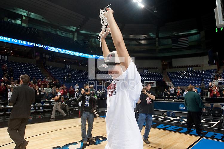 SPOKANE, WA - MARCH 28, 2011:  Jeanette Pohlen Stanford Women's Basketball vs Gonzaga, NCAA West Regional Finals at the Spokane Arena on March 28, 2011.