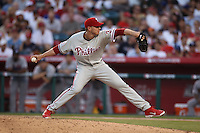 ANAHEIM - JULY 13:  Roy Halladay of the National League pitches in the All Star Game at Angel Stadium on June 13, 2010 in Anaheim, California. Photo by Brad Mangin