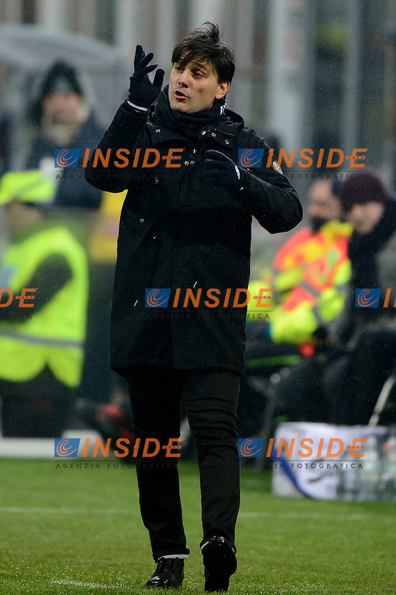 Vincenzo Montella allenatore Milan coach<br /> Milano 12-01-2017 Stadio Giuseppe Meazza - Football Calcio Coppa Italia Milan - Torino. Foto Giuseppe Celeste / Insidefoto