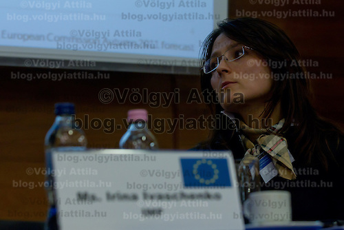 Yrina Ivashenko representative of IMF in Hungary attends the Economy Forum conference in Budapest, Hungary on November 24, 2011. ATTILA VOLGYI