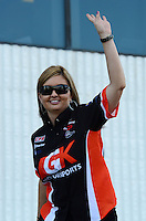 Sept 9, 2012; Clermont, IN, USA: NHRA pro stock driver Erica Enders during the US Nationals at Lucas Oil Raceway. Mandatory Credit: Mark J. Rebilas-