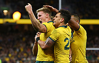 Reece Hodge of the Wallabies celebrates after scoring a try during the Rugby Championship match between Australia and New Zealand at Optus Stadium in Perth, Australia on August 10, 2019 . Photo: Gary Day / Frozen In Motion