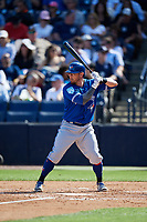 Toronto Blue Jays second baseman Eric Sogard (5) at bat during a Grapefruit League Spring Training game against the New York Yankees on February 25, 2019 at George M. Steinbrenner Field in Tampa, Florida.  Yankees defeated the Blue Jays 3-0.  (Mike Janes/Four Seam Images)