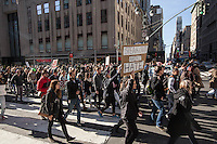 NEW YORK, NY - NOVEMBER 12: Anti-Donald Trump protesters march up 5th Avenue to Trump Towers November 12, 2016 in New York City. Photo by VIEWpress/Maite H. Mateo.