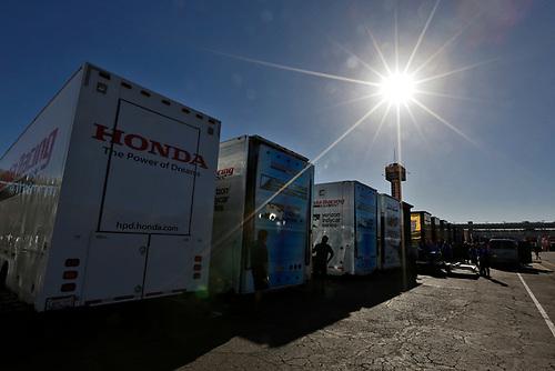 26-27 February, 2016, Avondale, Arizona USA<br /> Honda transporters in the paddock waiting to unload<br /> ©2016, Phillip Abbott<br /> LAT Photographic