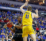 SIOUX FALLS, SD - MARCH 7: IPFW Mastodons guard Brian Patrick #2 drives to the basket against South Dakota State Jackrabbits guard Noah Freidel #11 at the 2020 Summit League Basketball Championship in Sioux Falls, SD. (Photo by Richard Carlson/Inertia)