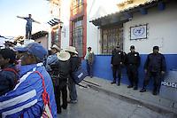 Messico, Chiapas, .Novembre 2010.Manifestazione di contadini del pueblo Nuovo Chiapas contro l'arresto di alcuni integranti delle associazioni del posto.Il presidio davanti la sede delle Nazioni Unite