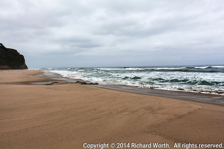 The morning beach, scrubbed clean by the tides and untouched - a fresh canvas to be painted by the next day's visitors.