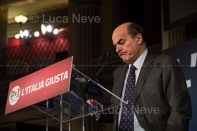 26/02/2013, Between 17:00 and 17:40 - Pier Luigi Bersani, leader PD (Partito Democratico) and candidate as Italian Prime Minister for the center-left coalition, holds a press conference at the PD media centre.<br />