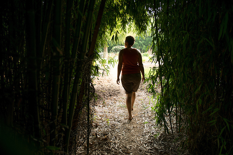 Graduate student Sarah Minkin stands inside the bamboo covered entryway to the West State Street Gardens. Photo by Ben Siegel
