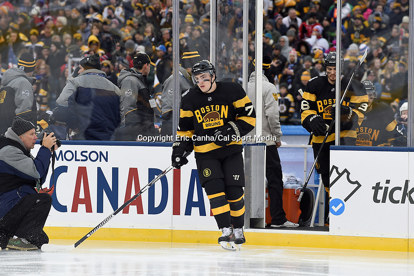 Friday January 1, 2016: Boston Bruins center Frank Vatrano (72) takes the ice at the National Hockey League Bridgestone Winter Classic game between the Montreal Canadiens and the Boston Bruins, held at Gillette Stadium in Foxborough, Massachusetts. Montreal defeats Boston 5-1 in regulation time. Eric Canha/CSM