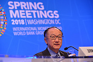 Washington, DC - April 19, 2018: World Bank Group President Jim Yong Kim holds a press briefing during the Spring Meetings of the International Monetary Fund/World Bank Group in Washington, DC April 19, 2018.  (Photo by Don Baxter/Media Images International)