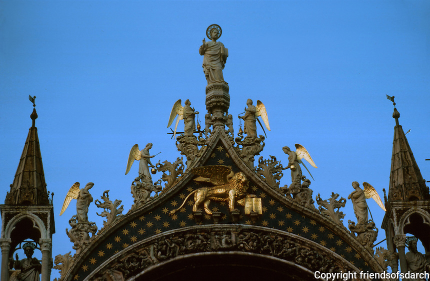 Venice:  Basilica San Marco, detail, upper facade.  Photo '83.
