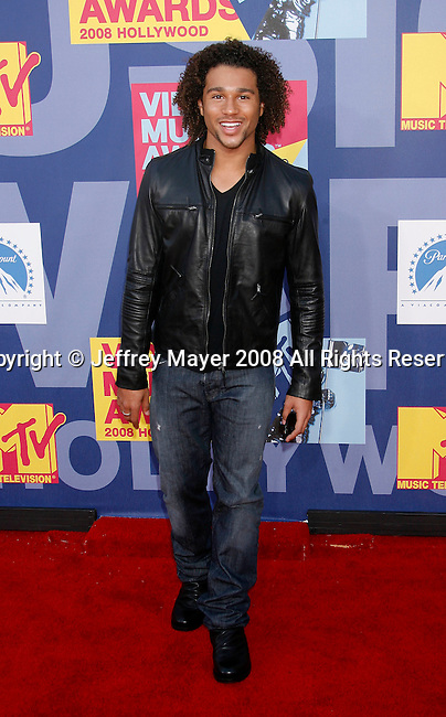 LOS ANGELES, CA. - September 07: Actor Corbin Bleu arrives at the 2008 MTV Video Music Awards at Paramount Pictures Studios on September 7, 2008 in Los Angeles, California.