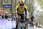 Wout Van Aert (BEL) Team Jumbo-Visma on the the first ascent of the Kemmelberg during the 2019 Gent-Wevelgem in Flanders Fields running 252km from Deinze to Wevelgem, Belgium. 31st March 2019.<br /> Picture: Eoin Clarke | Cyclefile<br /> <br /> All photos usage must carry mandatory copyright credit (© Cyclefile | Eoin Clarke)