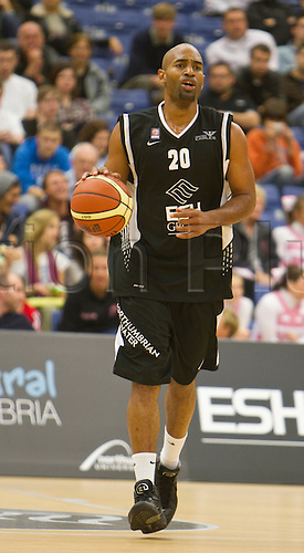 24.09.2010 British Basketball League Newcastle Eagles v Sheffield Sharks..Fabulous Flournoy (20) Eagles Coach / Guard bounces / controls the ball and starts another attack.