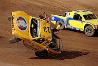 Apr 17, 2010; Surprise, AZ USA; LOORRS pro light unlimited driver Jerry Daugherty (23) flips over during round 3 at Speedworld Off Road Park. Mandatory Credit: Mark J. Rebilas-US PRESSWIRE.