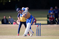J Evans drives through mid wicket during Upminster CC vs Essex CCC, Benefit Match Cricket at Upminster Park on 8th September 2019