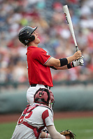 Texas Tech Red Raiders shortstop Josh Jung (16) at the plate during Game 5 of the NCAA College World Series against the Arkansas Razorbacks on June 17, 2019 at TD Ameritrade Park in Omaha, Nebraska. Texas Tech defeated Arkansas 5-4. (Andrew Woolley/Four Seam Images)