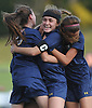 Morgan Camarda #6 of Massapequa, center, celebrates with teammates after scoring a goal in overtime to lift the Lady Chiefs to a 1-0 win over Calhoun in the Nassau County varsity girls soccer Class AA final at Cold Spring Harbor High School on Friday, Nov. 3, 2017.