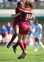 STANFORD, CA - October 21, 2018: Kiki Pickett, Beattie Goad at Laird Q. Cagan Stadium. No. 1 Stanford Cardinal defeated No. 15 Colorado Buffaloes 7-0 on Senior Day.