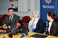"Pictured L-R: Detective superintendent Paul Hurley, Andrea Aburas giving a statement at Cardiff Bay Police Station and police liaison officer Jennifer Coleman. Monday 05 January 2015<br /> Re: A man has pleaded guilty of murdering a woman in a Cardiff hotel room has been found by police.<br /> Sammy Almahri from New York, went on the run following the discovery of Nadine Aburas's body at the Future Inn, Cardiff Bay, on 31 December 2014.<br /> An international search was launched to find Mr Almahri.<br /> He was arrested by Tanzanian Police.<br /> Nadine's family has issued the following statement:  ""Justice has been done for Nadine. The right verdict has been returned. We wish to thank everyone who has assisted us throughout this tragic period in our lives.<br /> ""We ask now that we are given time to grieve and remember our beautiful girl. We will give a full statement after sentence."""