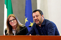 Matteo Salvini with the teacher of the school bus students<br /> Rome March 27th 2019. The Minister of internal affairs Matteo Salvini meets the students that were on the school bus that was hijacked last week in Crema. Two of the students, Rami and Adam, hailed as heroes for helping saving their classmates when they had been abducted by a Senegalese with Italian citizenship bus driver who tried to set fire to the school bus.<br /> photo di Samantha Zucchi/Insidefoto