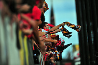 Terrapin fans celebrate after the equalizer. Maryland defeated Penn State in over time 3-2 during an NCAA D-1 soccer match at Ludwig Field in College Park, MD on Sunday, September 18, 2016.  Alan P. Santos/DC Sports Box